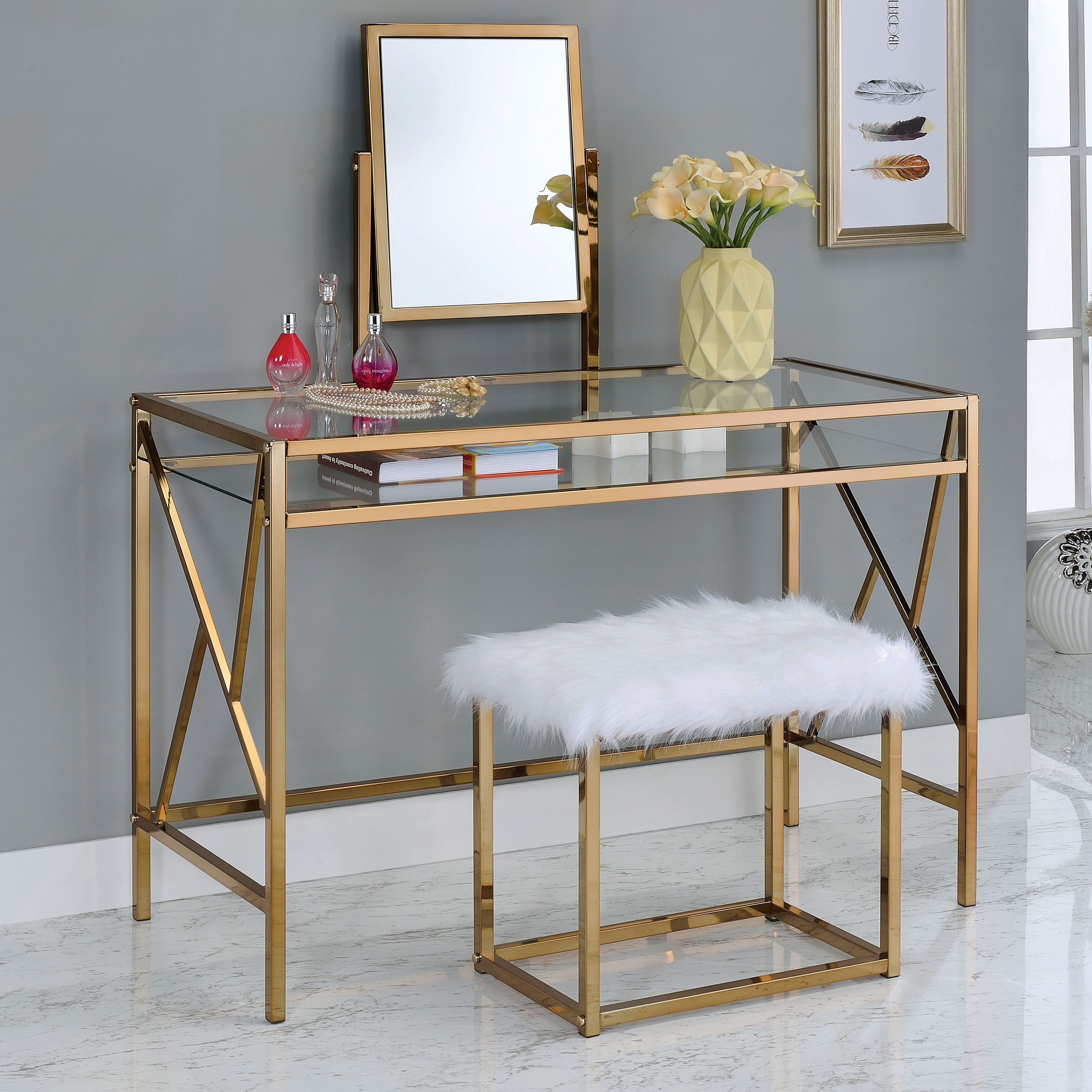 table pin ailees of glass contemporary stool piece fur america glam vanity furniture with faux set
