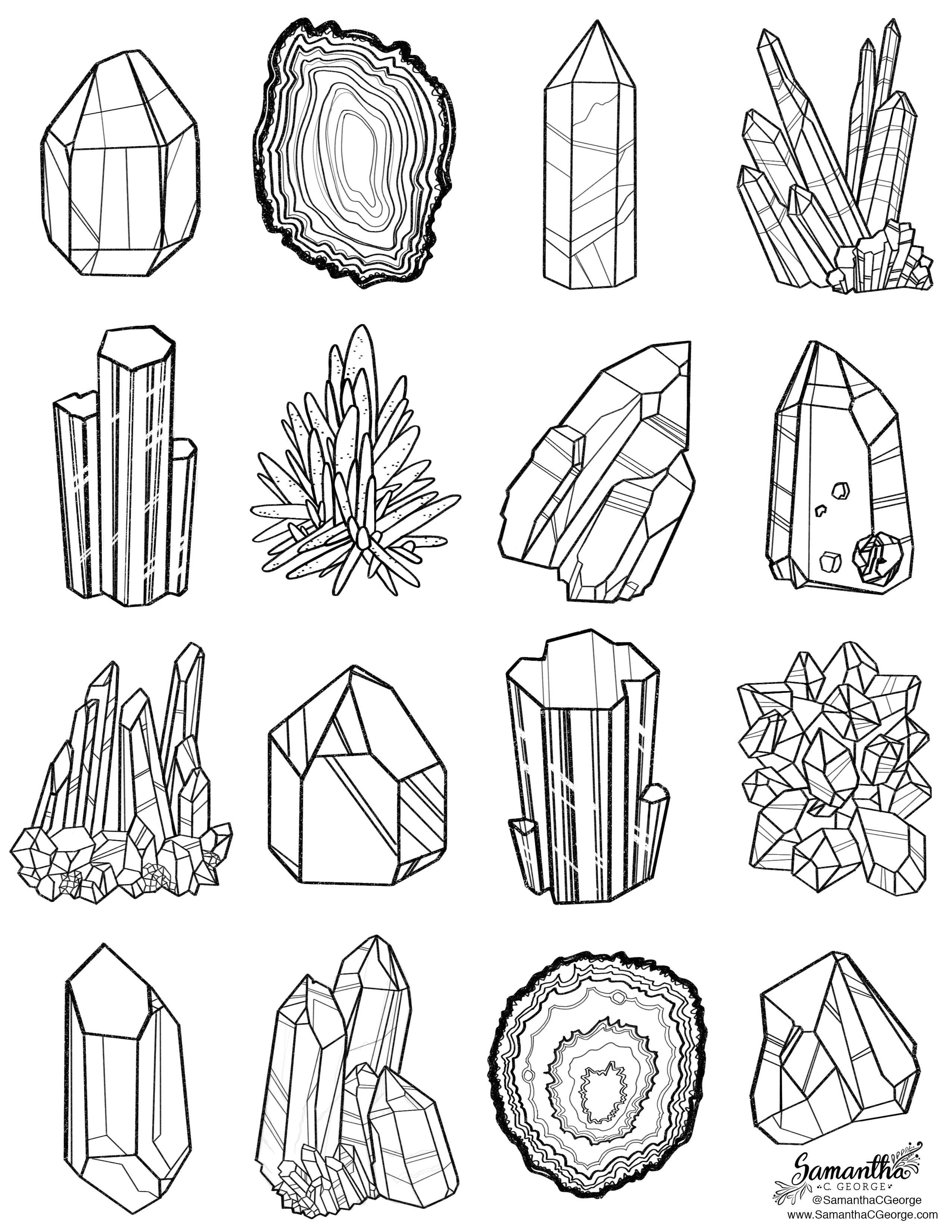 Gem Coloring Page Crystal Drawing Line Art Free Coloring Pages