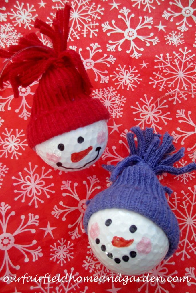 Snowman Ornaments from golf balls A