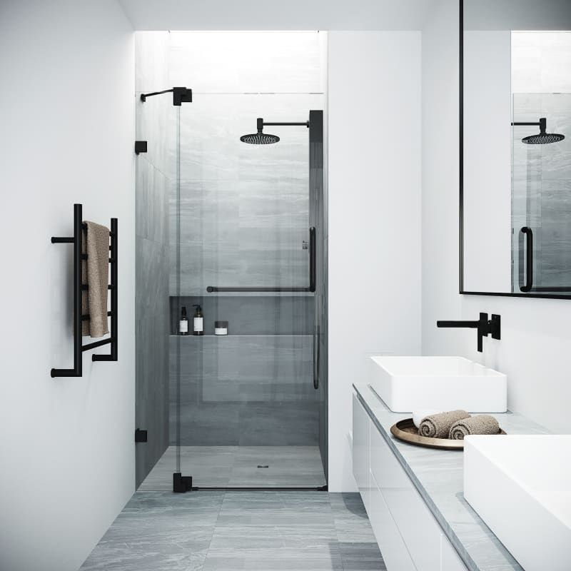 Vigo Vg6042mbcl42 Clear Matte Black Pirouette 72 High X 42 Wide Hinged Frameless Shower Door With Clear Glass In 2020 Frameless Shower Doors Bathroom Shower Doors Restroom Remodel