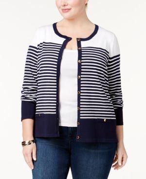 9b61814e7ea Karen Scott Plus Size Striped Cardigan