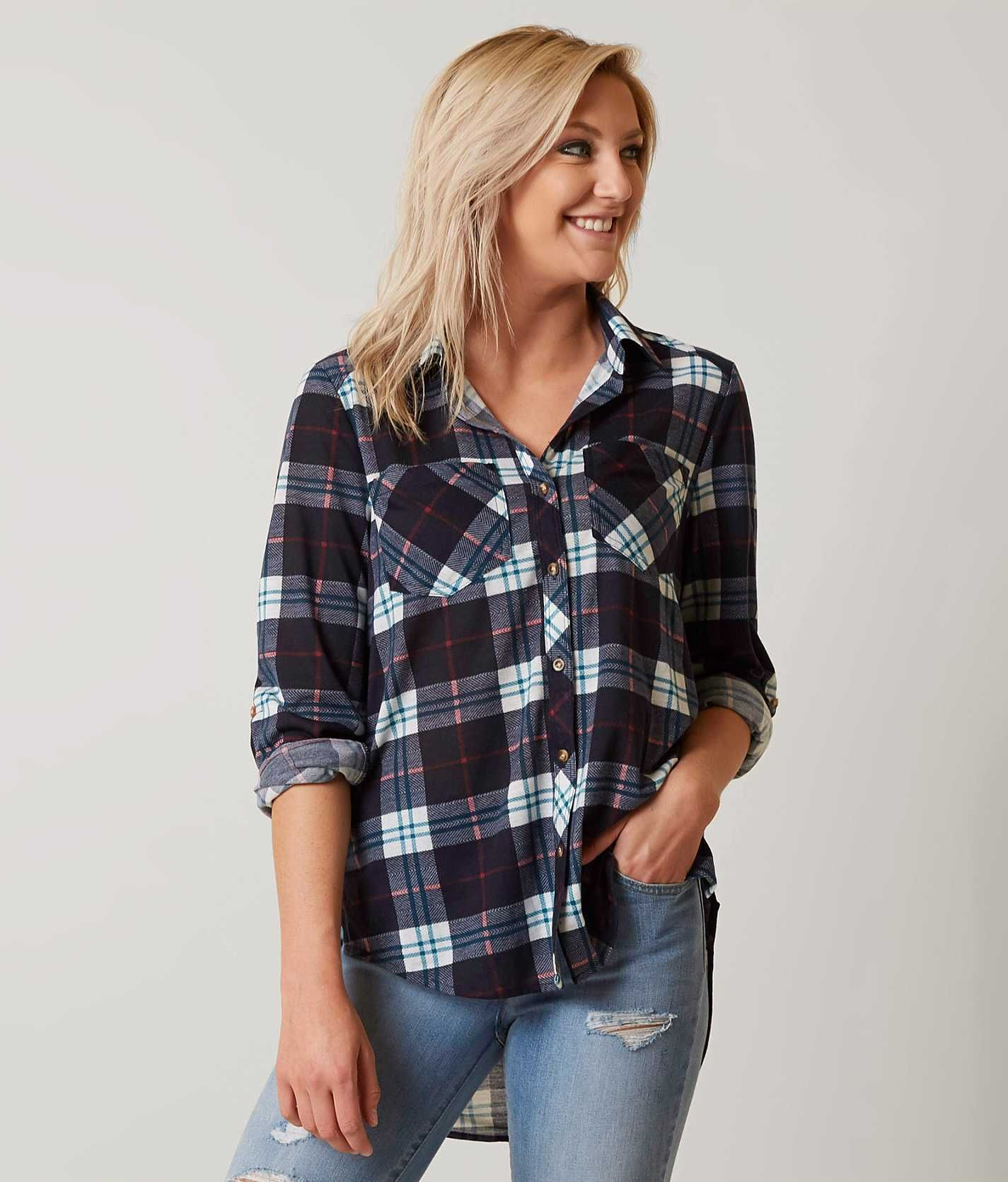 Flannel shirt outfits for women  Daytrip Plaid Shirt  Womenus ShirtsBlouses in Navy Teal Pink