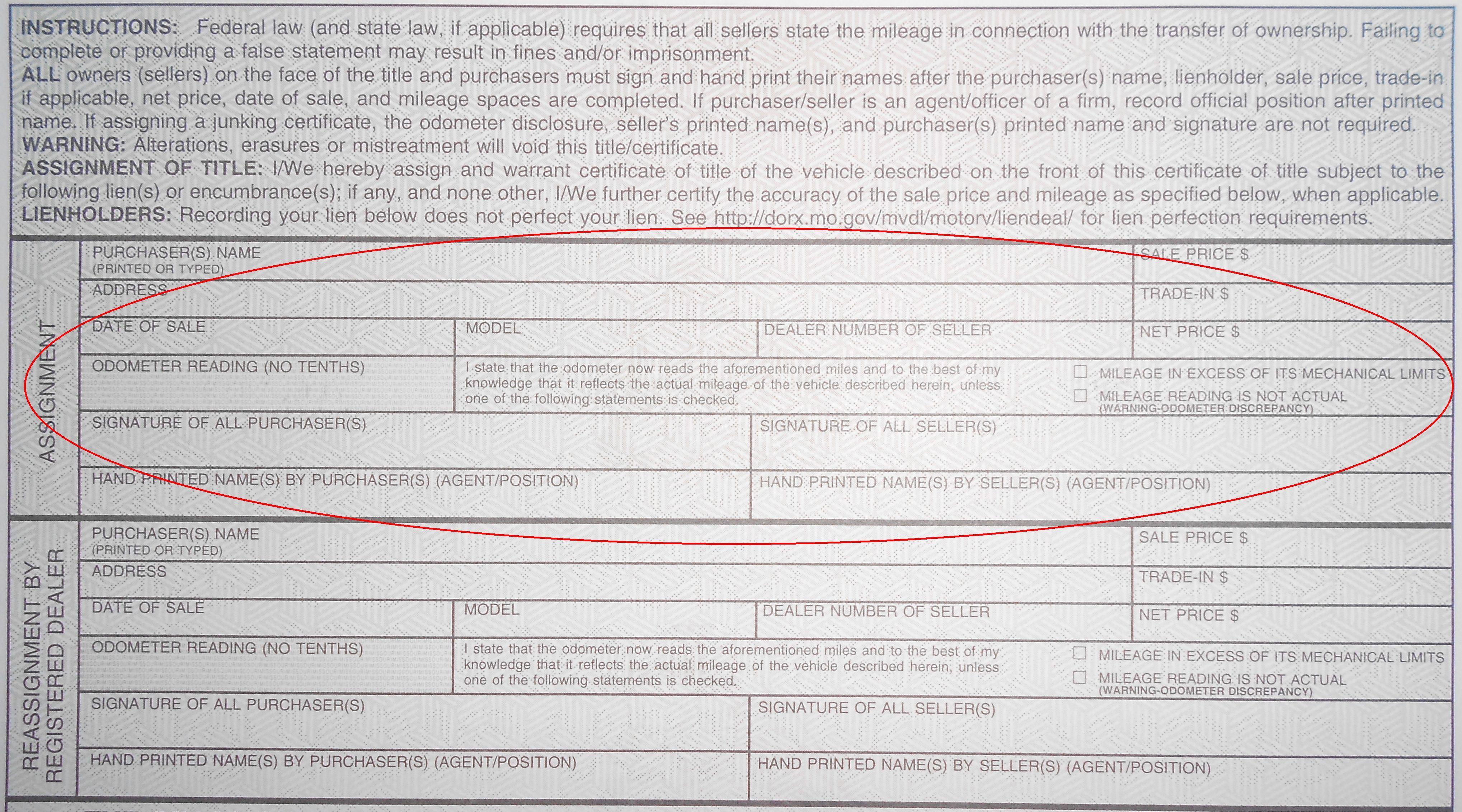 Wonderful Missouri Odometer Disclosure Statement How To Title A