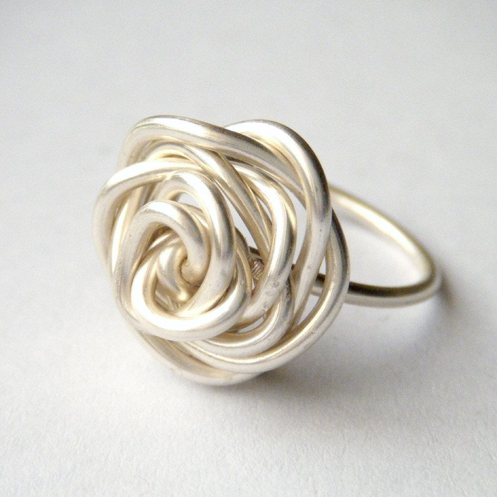 Silver Rose Ring - Wire Wrap Ring, Wire Wrapped Rose Ring, Wire Work ...