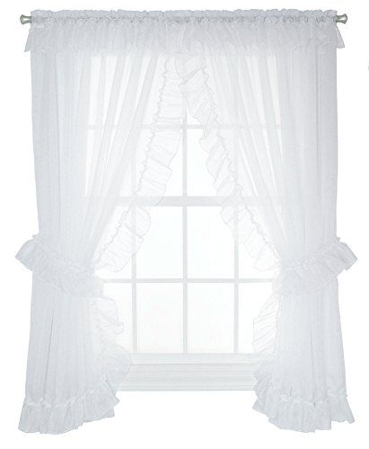 Ellis Curtain Jessica Sheer Ruffled Priscilla Pair Curtains With Ties 100 By 84 Inch White Ellis Curtain