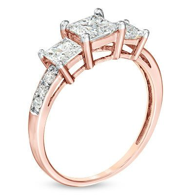 Zales Princess-Cut Lab-Created White Sapphire Three Stone Ring in Sterling Silver and 10K Rose Gold WDaPy