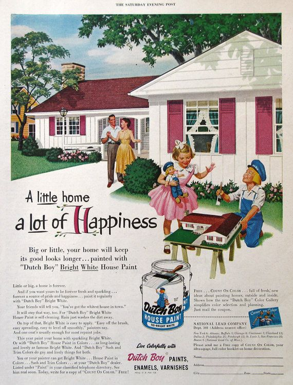 1954 dutch boy house paint ad 1950s midcentury ranch home design a little home a lot of - Dutch boy exterior paint colors property ...