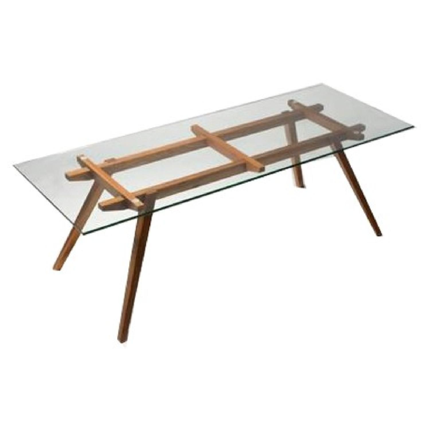 Metra extension dining table crate and barrel - Organic Modernism American Walnut Glass Top Dining Table