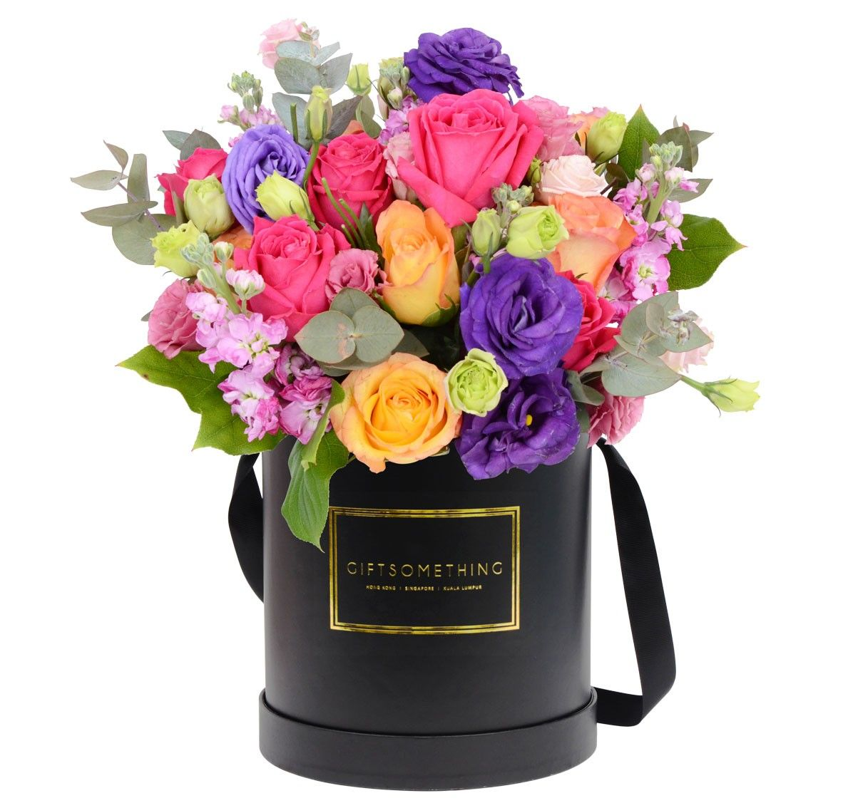 Seaonal Flowers In Round Flower Box By Gift Flower Sg