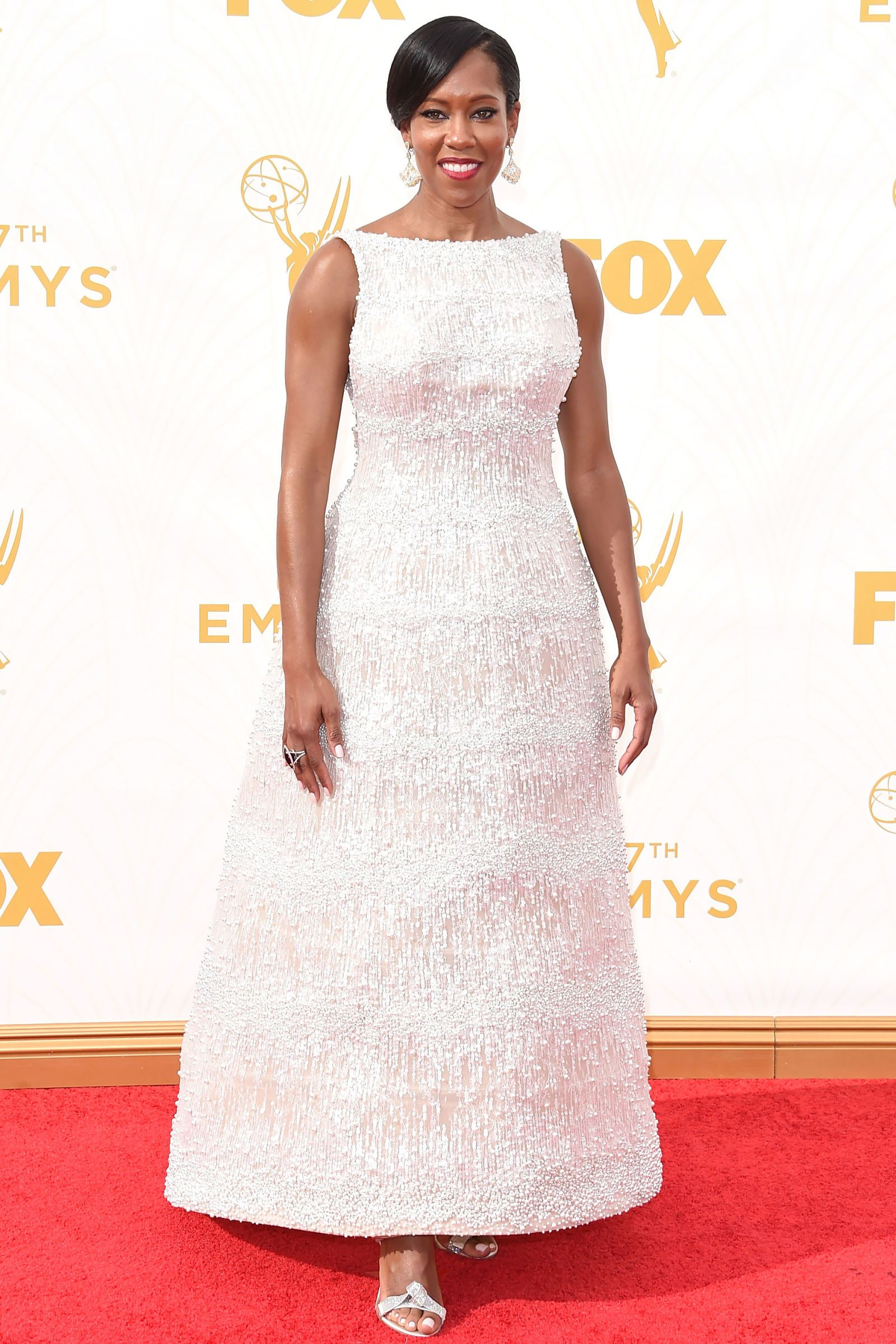 Regina George wears a gorgeous white A-line dress to the 2015 Emmys  See All the Gorgeous Looks From the 2015 Emmys  - Cosmopolitan.com