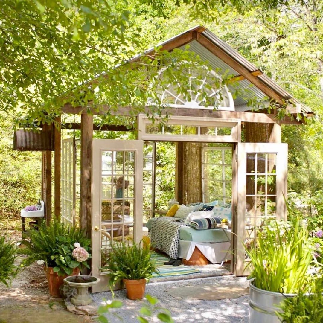 Peppertree Living On Instagram Time For An Afternoon Nap Sonildasacardo Greenhouse Shed Sheshed Daudream Vin Outdoor Rooms Small Outdoor Spaces Gazebo