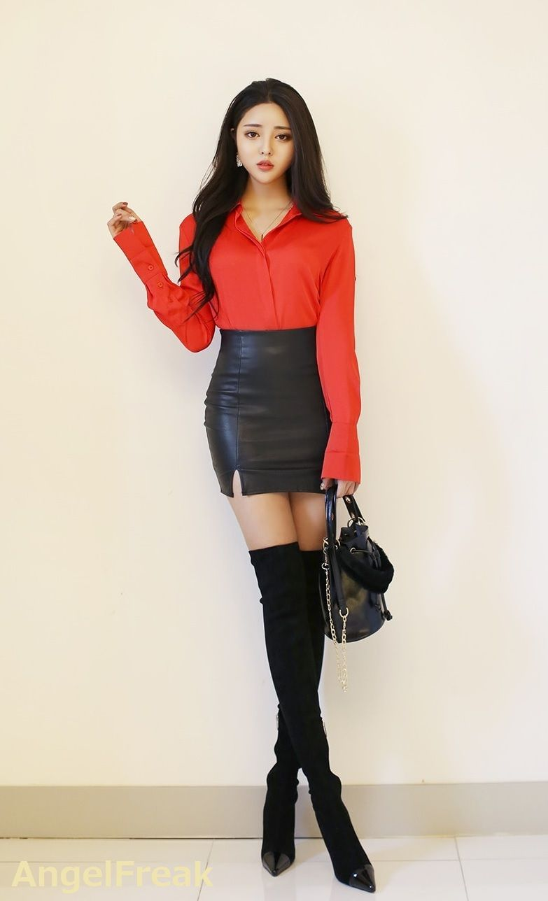 Skinny asian teen girl red boots