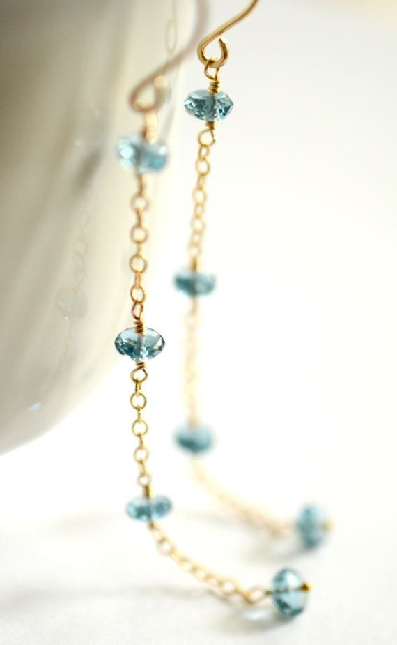 London blue topaz earrings gold London blue by KahiliCreations, $80.00