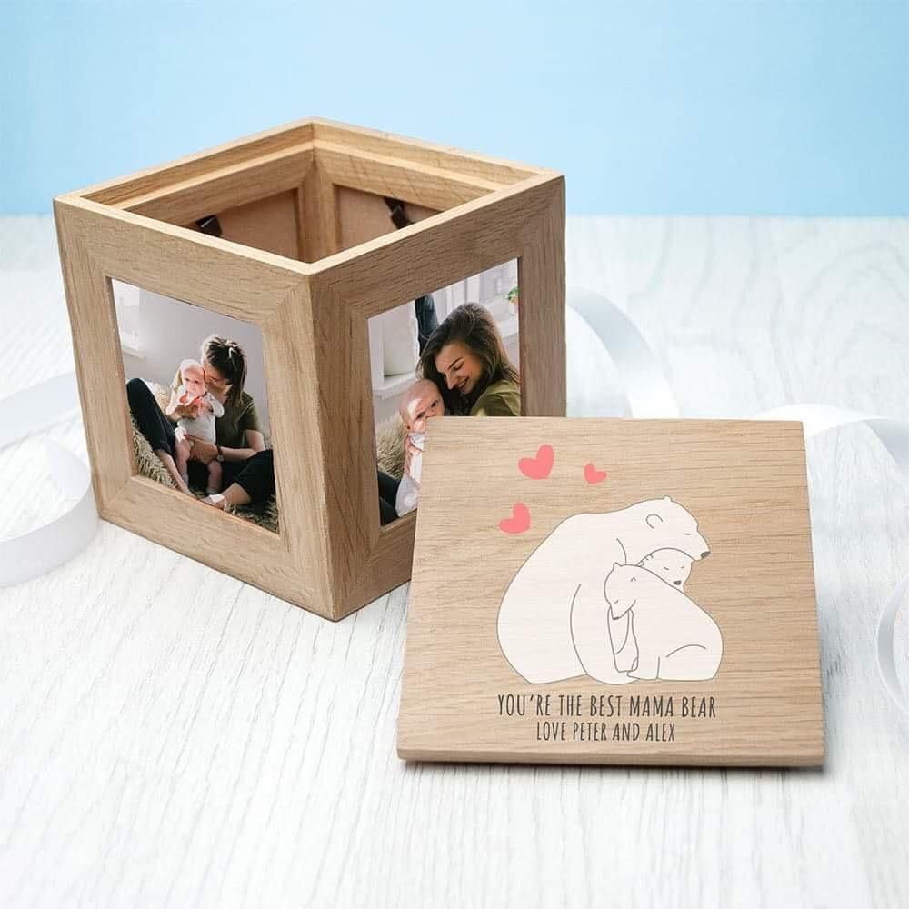 Personalised Oak Wooden Photo Frame Cube Grandma Mummy Dad Keepsake Memory Box