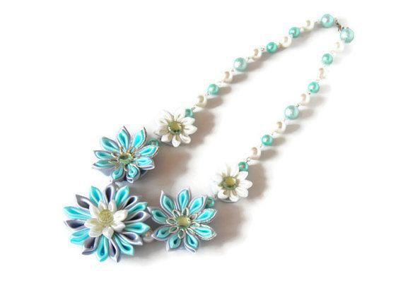 Kanzashi Flower Garland Necklace/ blue azure / by BestMaria, $32.00