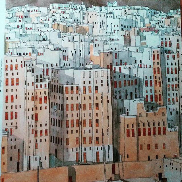 Stevemcdonald Fantasticcities Colorbook Art Artwork Yemen Shibam Watercolor Coloring BooksWatercolorsCities