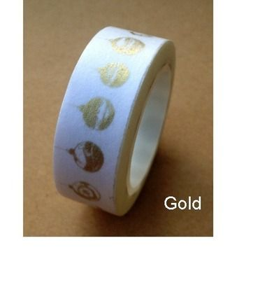 Ruban Washi Tape  ♥ 15mm ♥ 10 metres ♥ Blanc & Dore  : Masking tape par la-folie-du-ruban