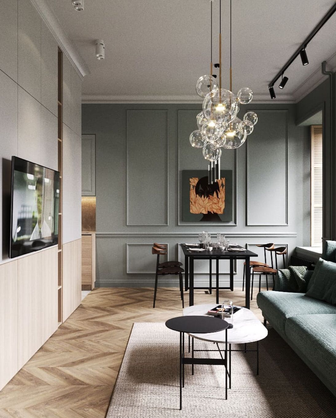 The Space Was Framed With The Furniture And Lighting That Reveals The Color Harmonies And Contrast In 2020 Living Room Design Modern Apartment Interior Interior Design