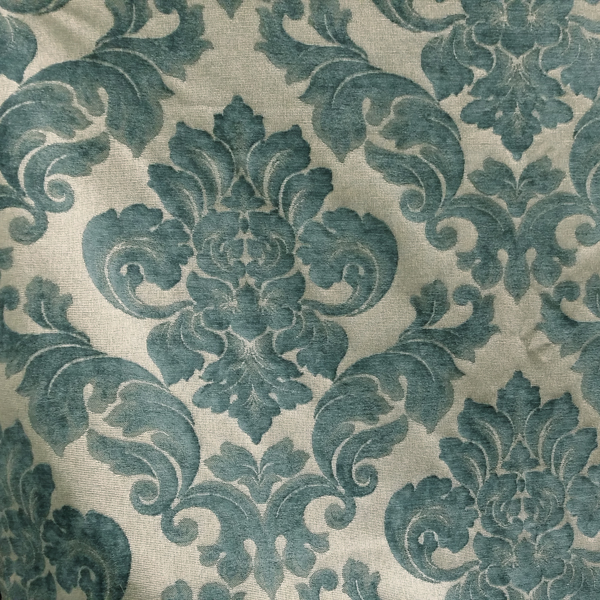 Sweetbriar Marine Blue Damask Upholstery Fabric SW54595