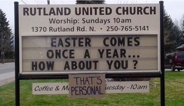 Our local church getting a little too personal...