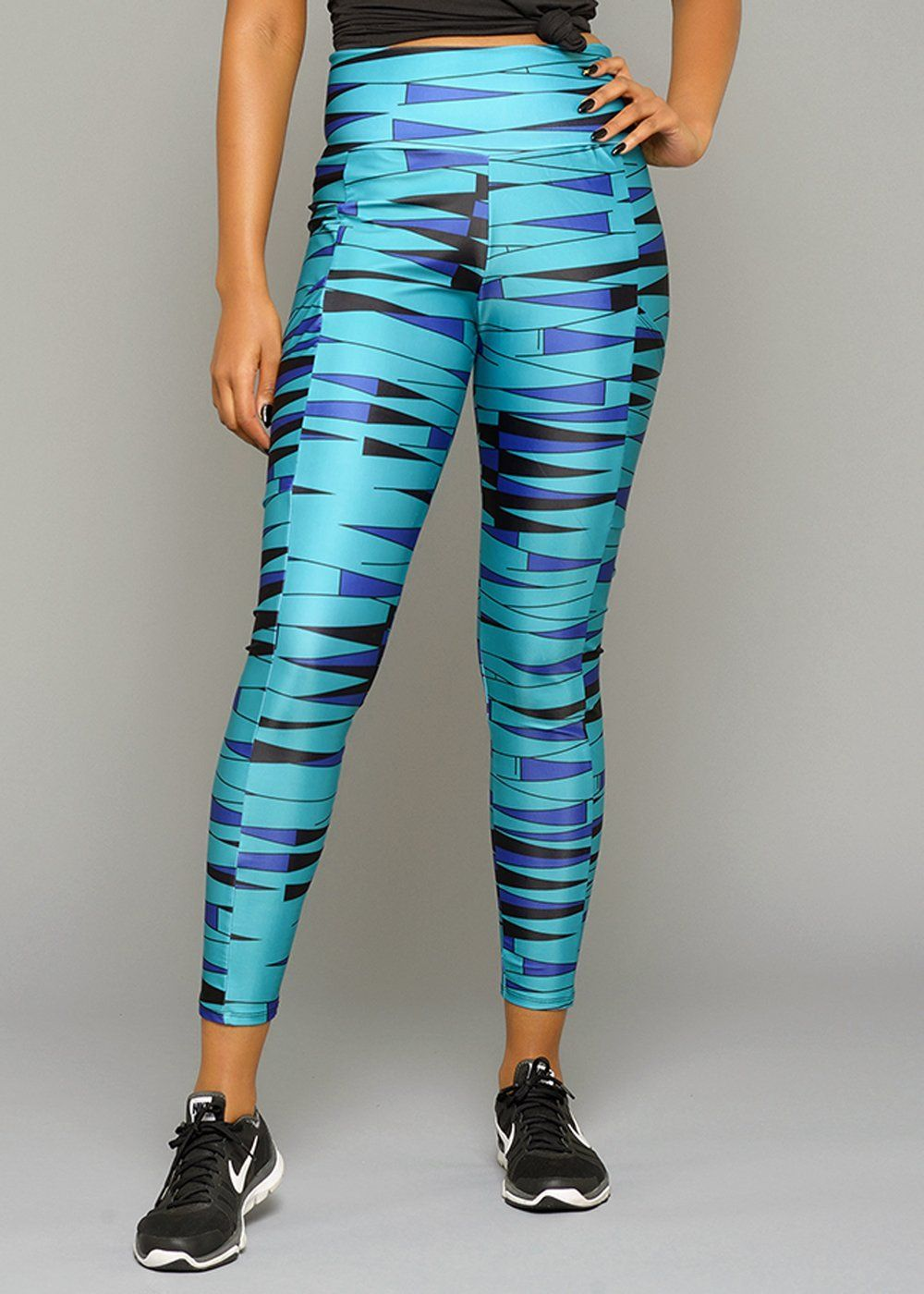 e0c2e1702a005 Naki African Print Yoga Pants Leggings (Blue Triangles)- Clearance ...