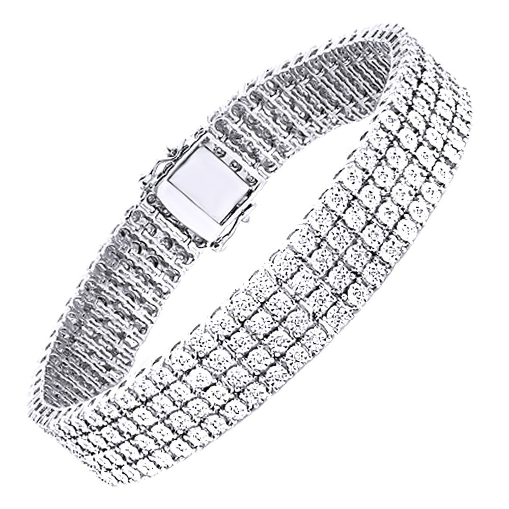 Mens 4 Row White Gold Finish Real Diamond Bracelet Tennis Link Bangle 8 5 Inch Tennis Bracelet Diamond Mens Diamond Bracelet Mens White Gold Bracelets