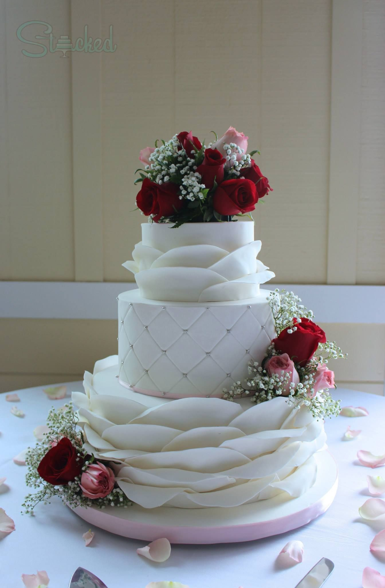 Clean And Simple White Wedding Cake Three Tiers Petal Ruffles