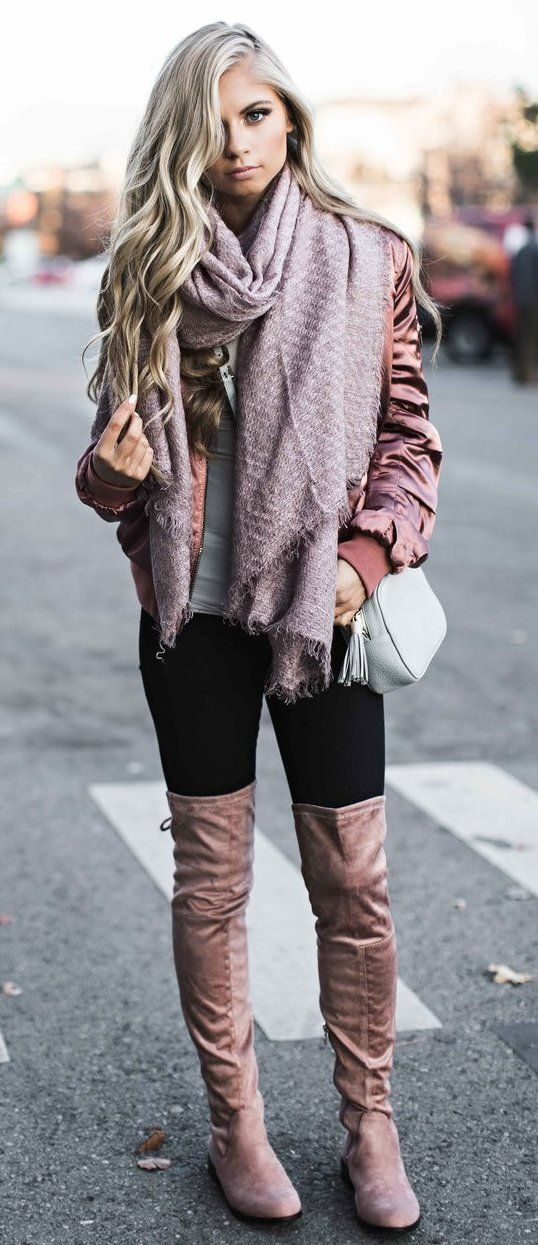 #cute #outfits Pink Scarf // Pink Jacket // Pink Velvet Knee High - 60 Cute Fall Outfits Hot Chocolate Weather Wear By JeanieBean