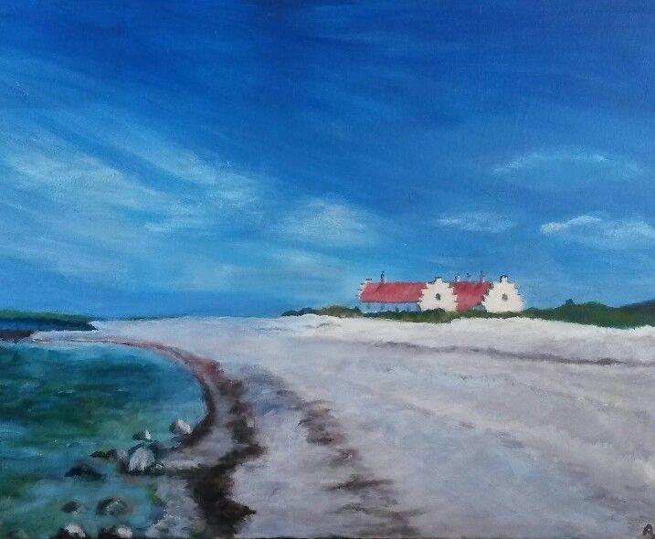 """Maleri af Annemarie Elal """"Stranden ved Løgstør"""" 2014. Akryl på lærred 60×80"""