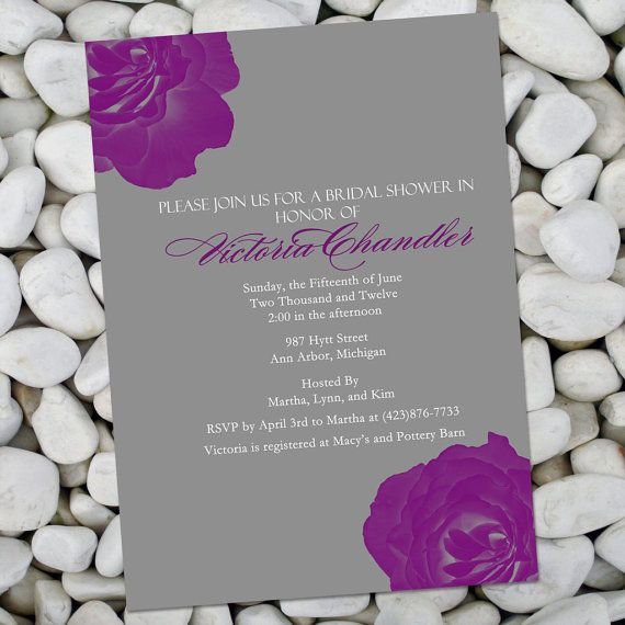 Bridal Shower Invitation Rose Petal Purple by PerfectPearDesigns, $12.00
