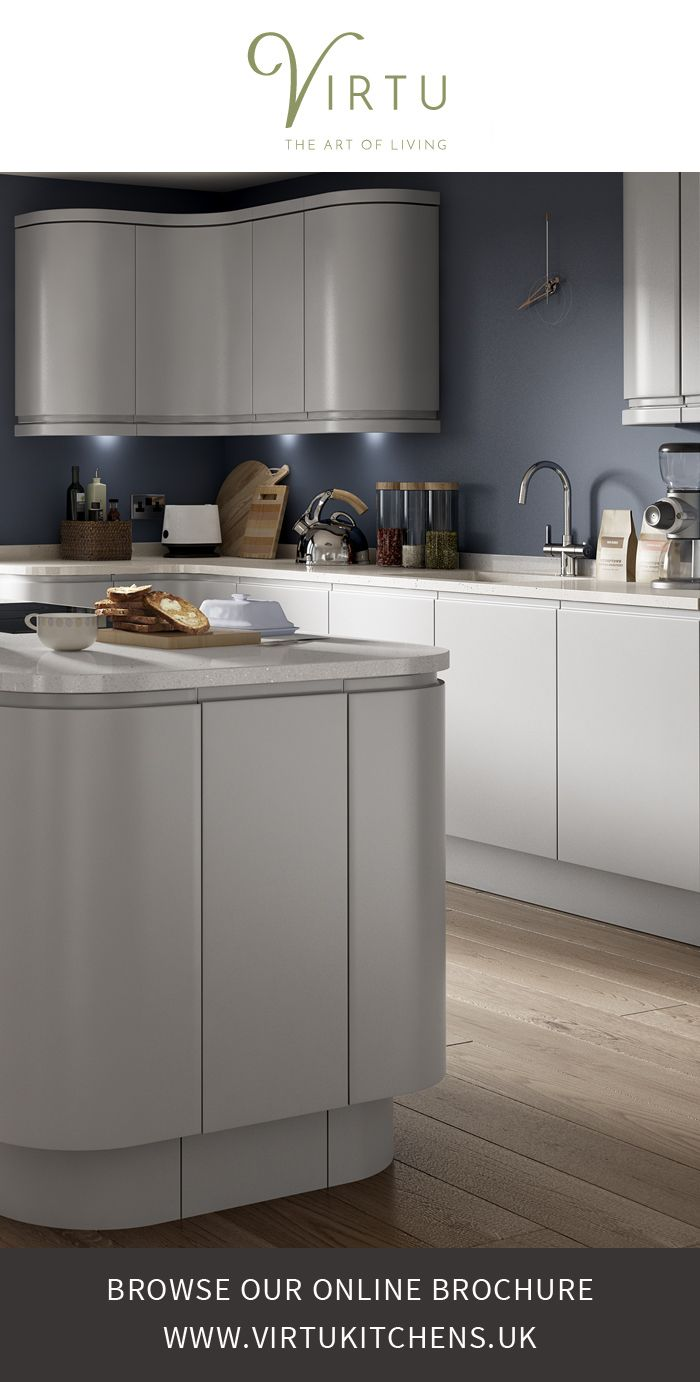 expression | NEO - Evening Mist Matt.  Curved cabinets reflect light and add to the feeling of space. #VirtuKitchens