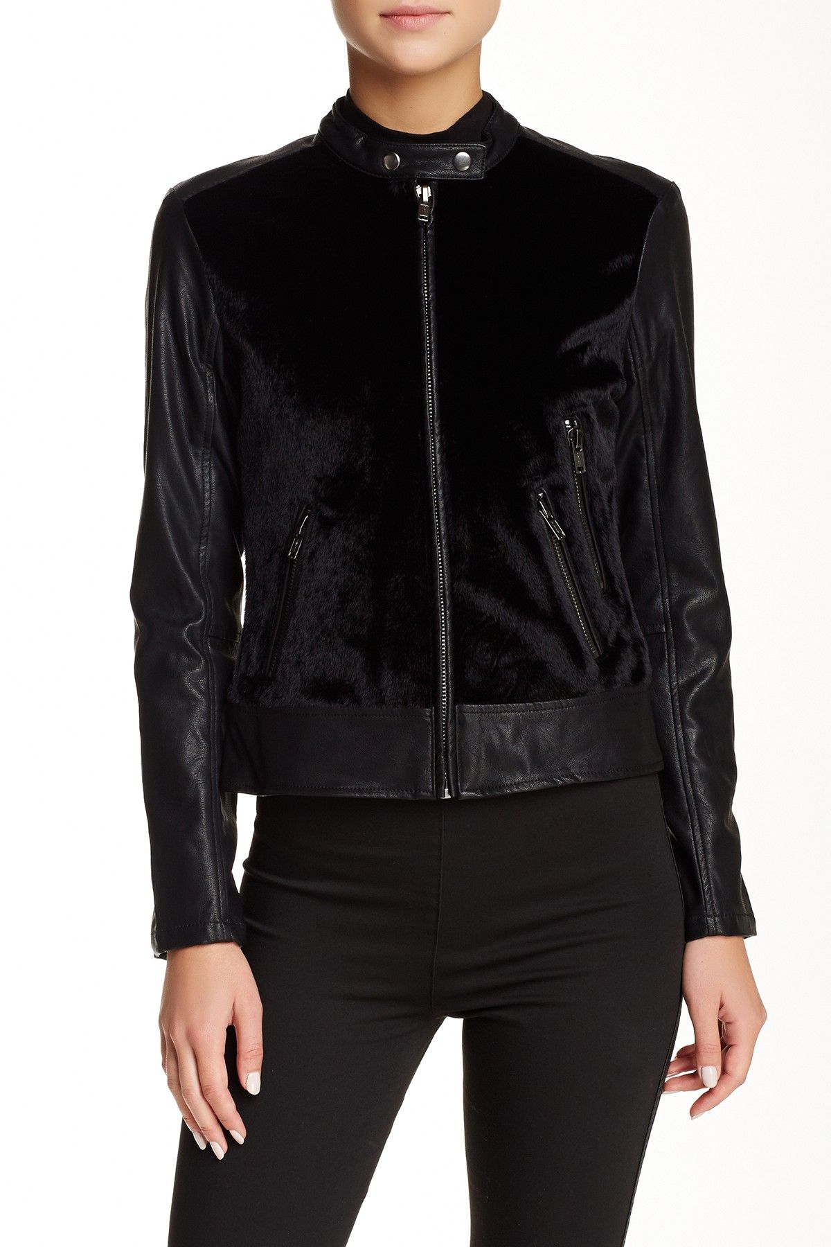 BLANKNYC Denim Faux Leather and Faux Fur Moto Jacket
