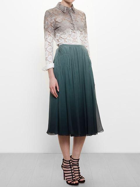 Burberry Prorsum Pleated Degrade Silk Skirt - Browns - Farfetch.com