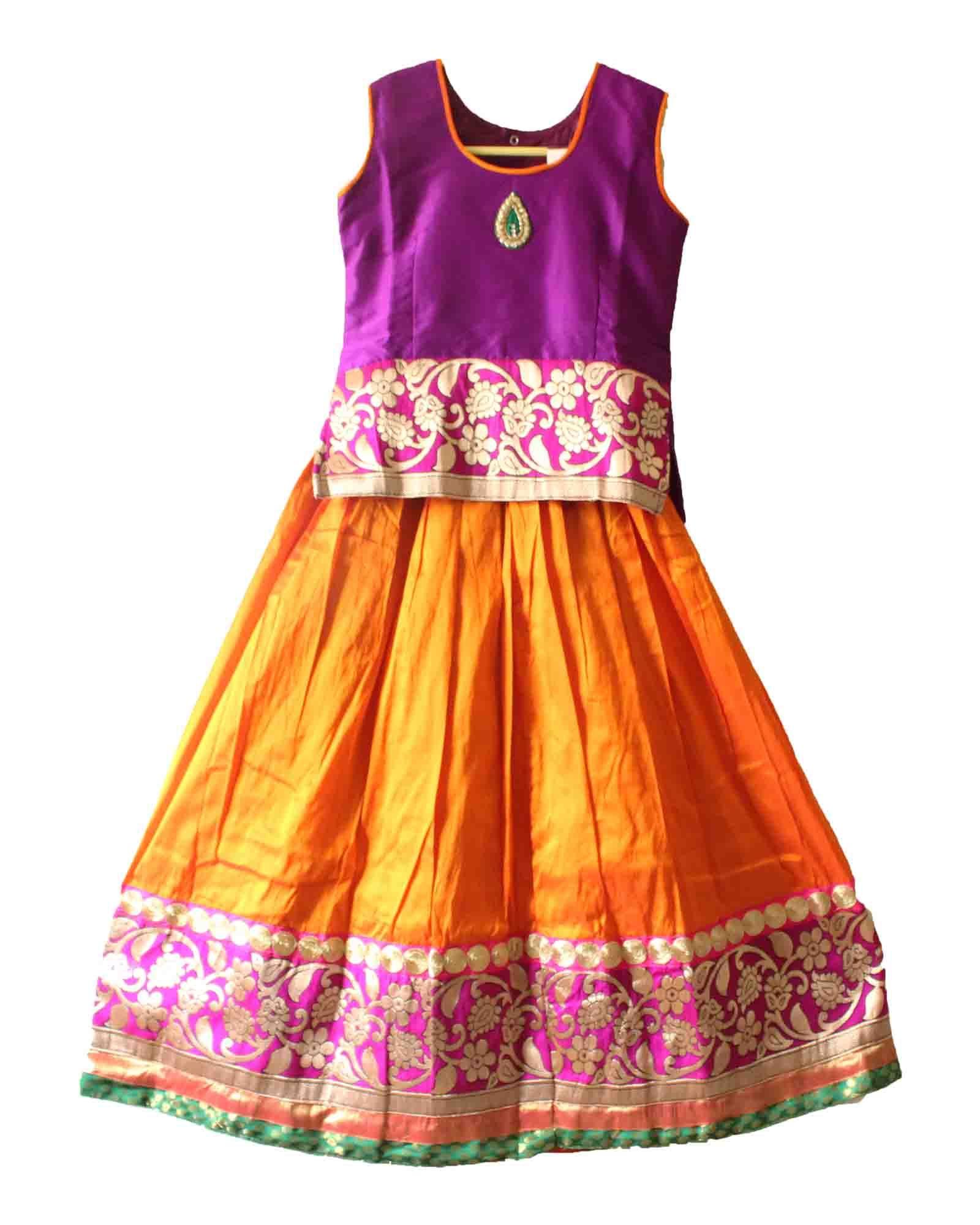 bddefb5f2 Gorgeous traditional pattu pavadai / lehenga for girls / kids of 4 , 9 and  10