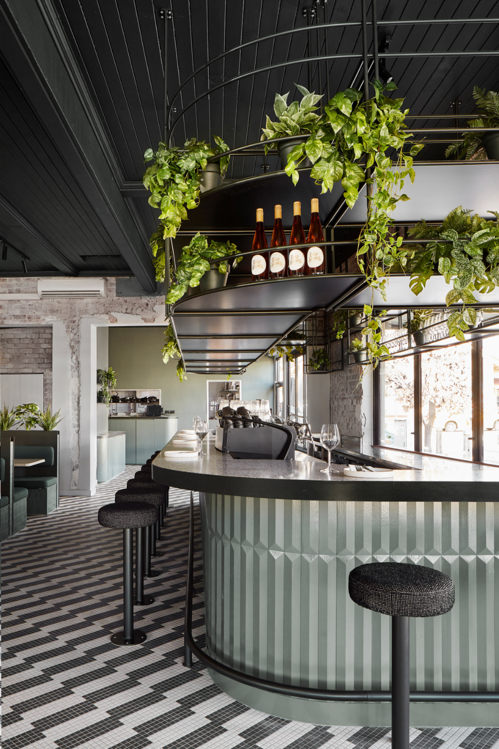Biasol Uses Green Tones For Update Of Melbourne S Main Street Cafe In 2020 Restaurant Interior Design Restaurant Design Bar Counter Design