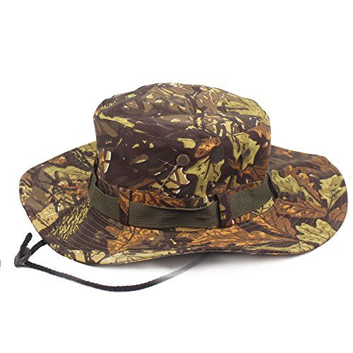 f08eefc5df0 Tkas Sun Hat Bucket Hat Boonie Hat Camouflage Camo Hat Safari Fishing  Hunting Military Outdoor UV Protection Summer Cap (Green Brown)