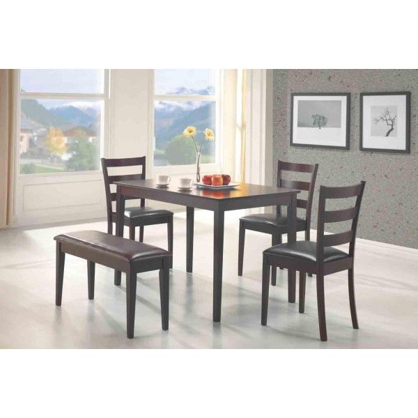 150232, Coaster 5pc Dining Table, Chairs & Bench Set Cappuccino ...