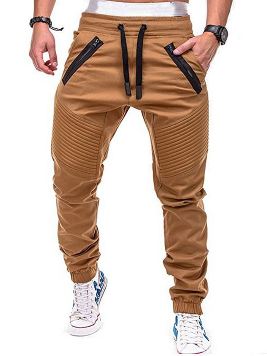 Pleated Zipper Lace Up Men S Casual Pants Mens Pants Casual Jogger Pants Style Jogger Pants Casual