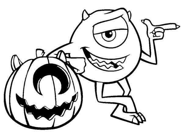 disney halloween monster inc coloring sheet for kids picture 24 550x399 picture - Coloring Pages Kids Halloween