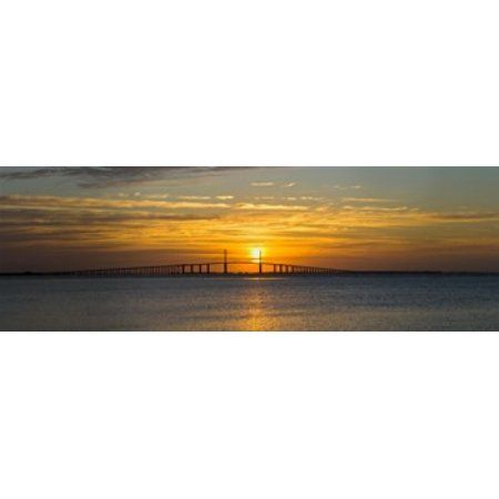 Sunrise over Sunshine Skyway Bridge Tampa Bay Florida USA Canvas Art - Panoramic Images (18 x 7)