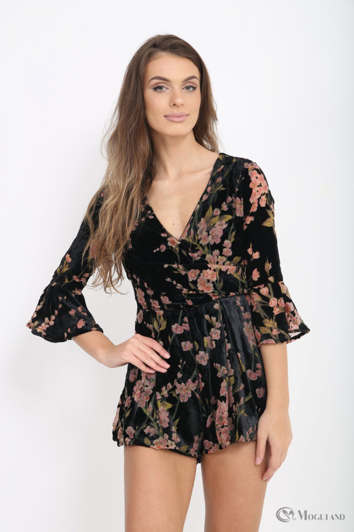 cde6efde00 Ladies black floral velvet playsuit wholesale - Women s Wholesale Clothing  Supplier