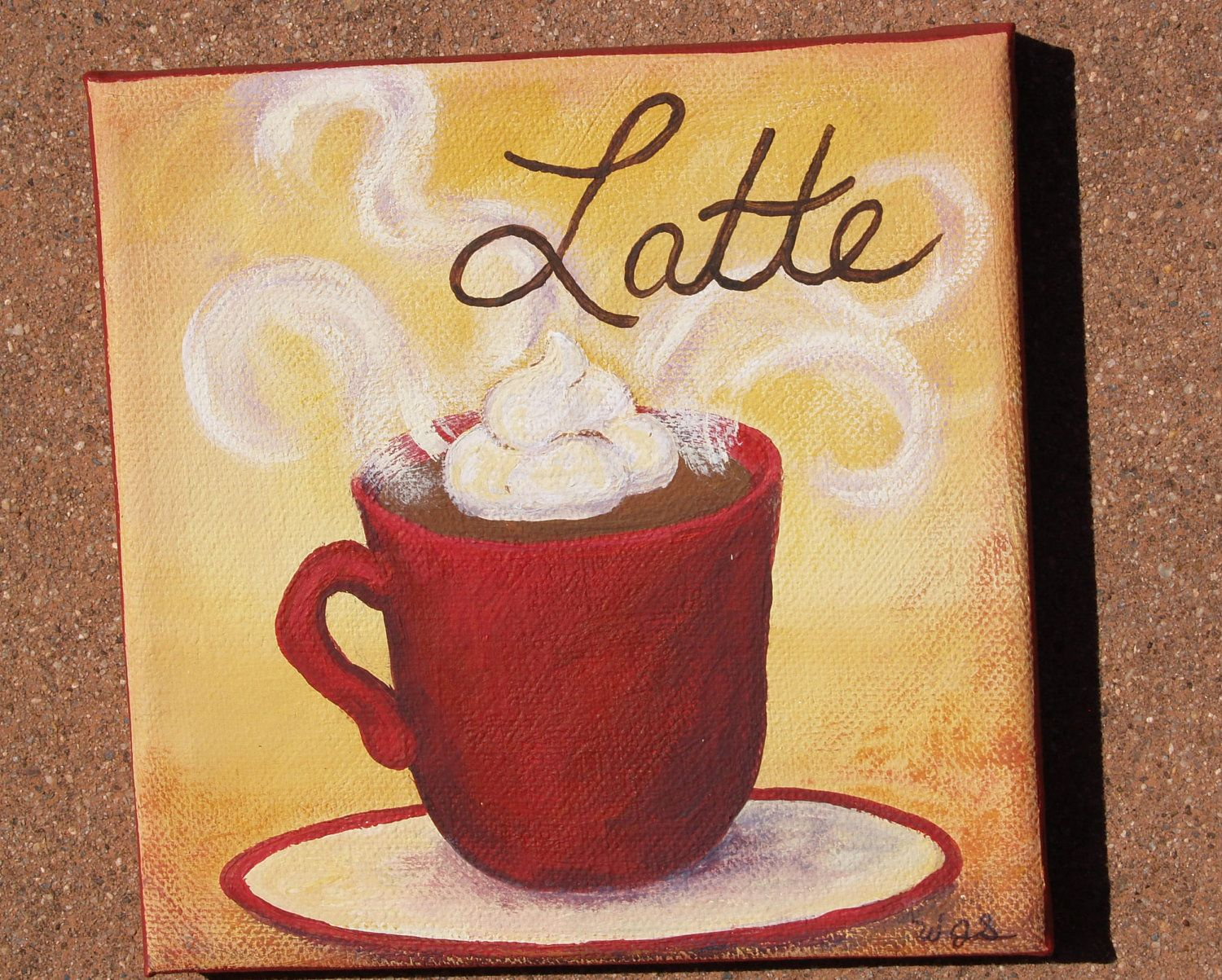 custom love of latte 8x8 original coffee paintings on