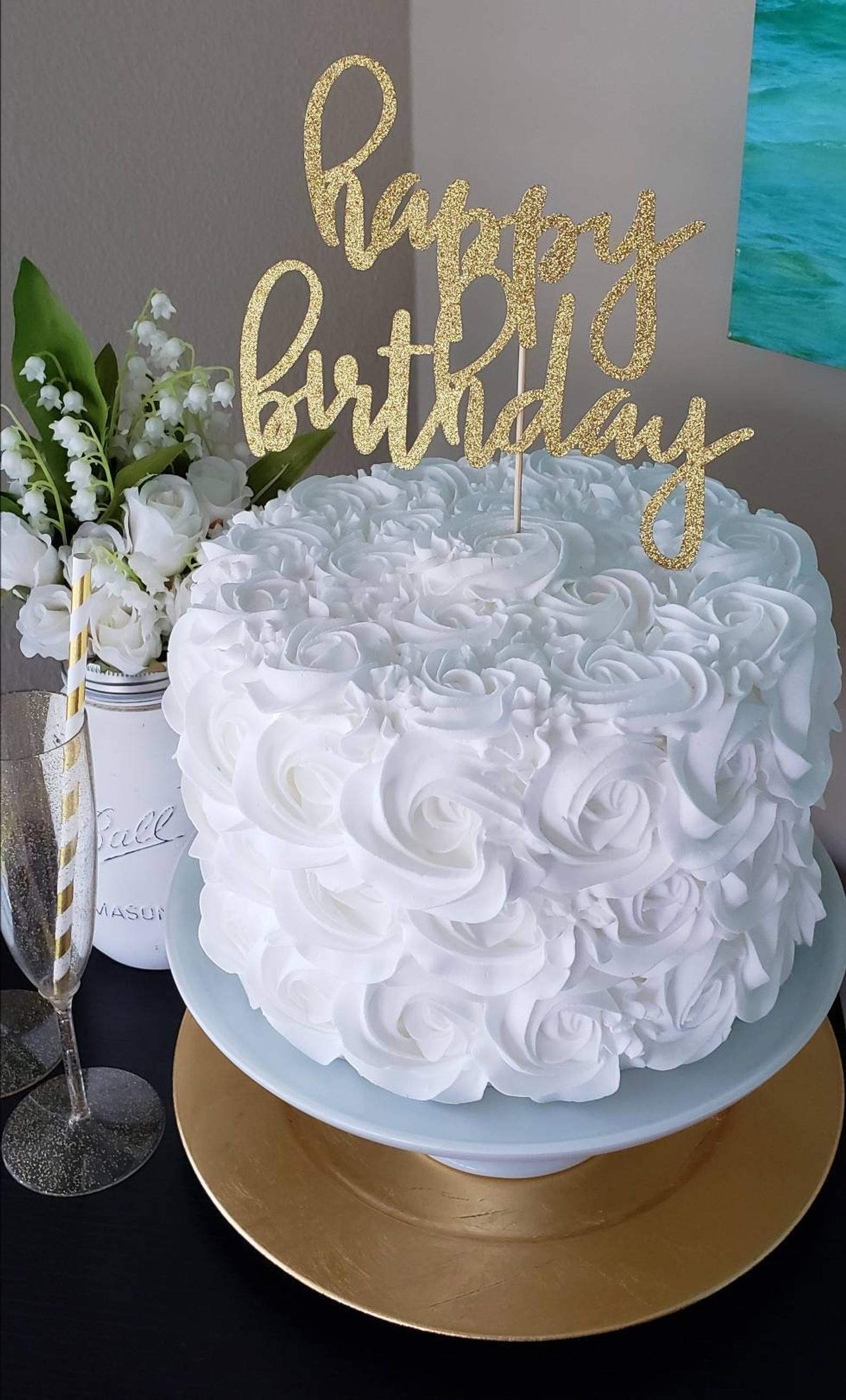 Happy Birthday Cake Topper Happy Birthday Decorations Custom Cake Topper Gold Glitter Cake Topper Happy Birthday Ideas Cake Topper In 2021 22nd Birthday Cakes 15th Birthday Cakes Pretty Birthday Cakes