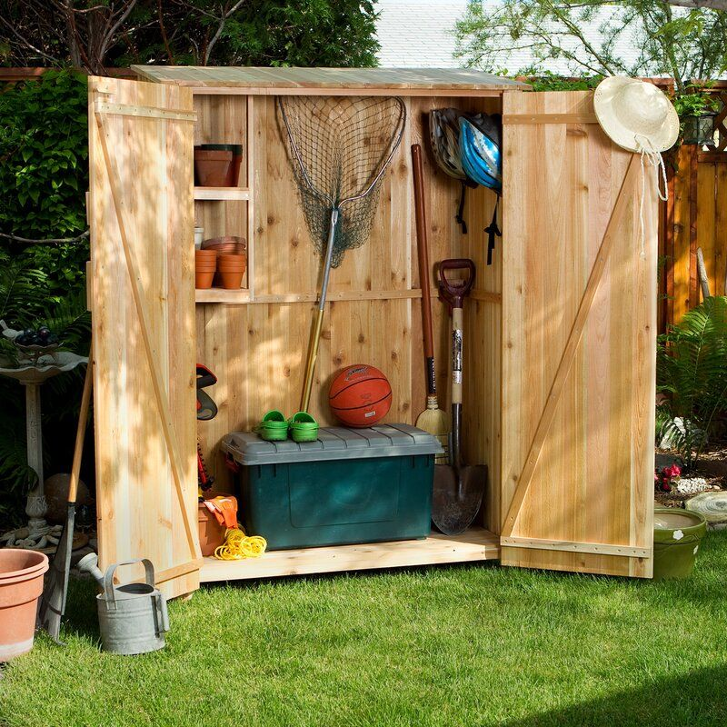 Farmhouse Shed Western Red Cedar 4 Ft W X 2 Ft D Wooden Vertical Tool Shed Wood Storage Sheds Farmhouse Sheds Garden Storage Shed