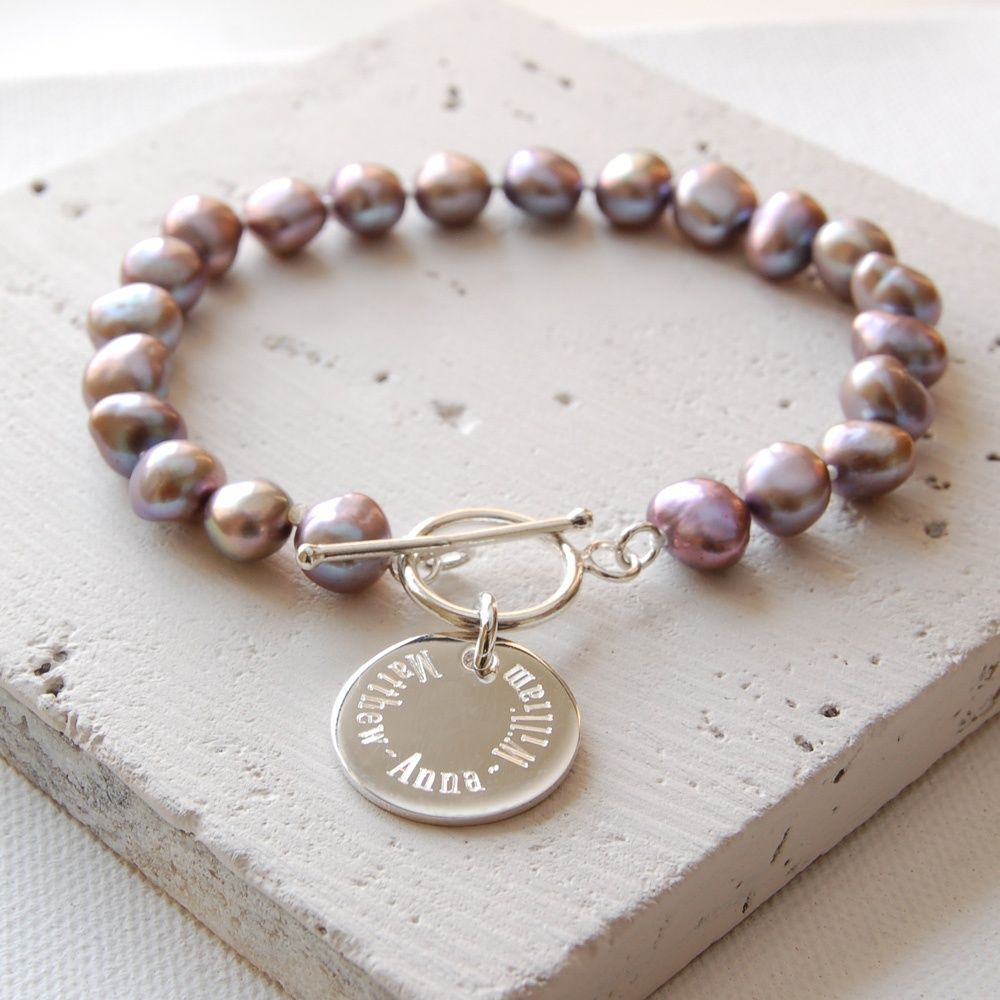 Grey words and memories pearl bracelet bracelets and