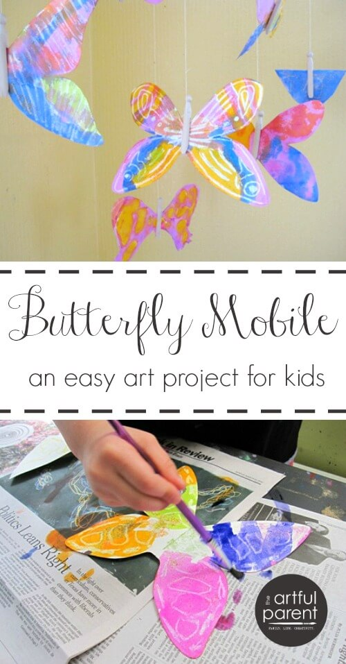 This easy butterfly art activity uses watercolor resist to create pretty butterflies to hang as a mobile. Includes a list of more butterfly art activities. #kidscraft #kidsart #butterfly #printmaking #artsandcrafts #kidsactivities via @TheArtfulParent