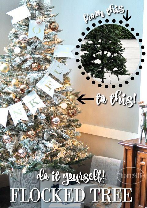 DIY Flocked Christmas Tree | Flocked christmas trees, Cheap christmas trees, Christmas tree ...