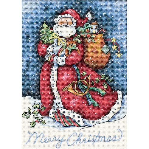 Counted Cross Stitch Kit MERRY CHRISTMAS SANTA Dimensions Gold Collection