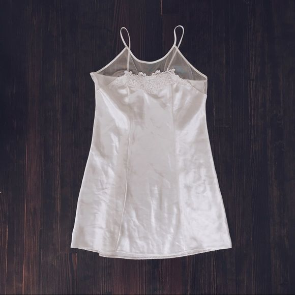 f9d3fac48ae8b0 Vintage satin lace slip dress A gorgeous cream white colored satin lingerie  slip from the early 1990s with beautiful floral embroidery at the top.
