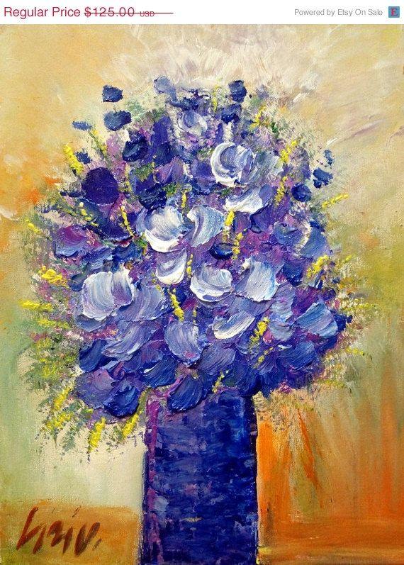 Original Oil Painting Flowers Bouquet Lavender Blue White Spring ...